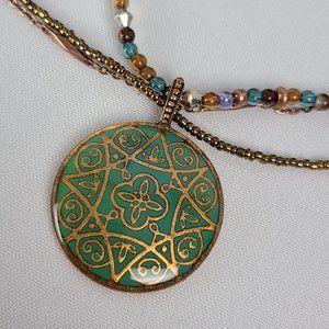 Avon Copper Tone Beaded Pendant Necklace